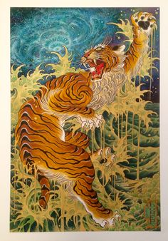 """Japanese Embroidery Tiger """"Teleportation"""" x signed giclee print. / Three Hours Past Midnight - """"Teleportation"""", watercolor Japanese Tiger Art, Japanese Tiger Tattoo, Japanese Art Prints, Japanese Sleeve Tattoos, Flor Oriental Tattoo, Tatoo Tiger, Traditional Japanese Tattoos, Asian Tattoos, Tibetan Art"""