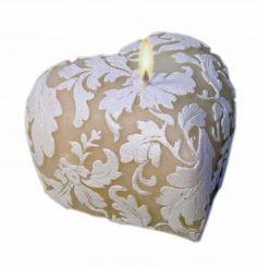 Damask Leaf Heart Candle, Handcarved Candle, Natural Candle | LittleTrove.com