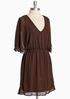 brown chiffon dress