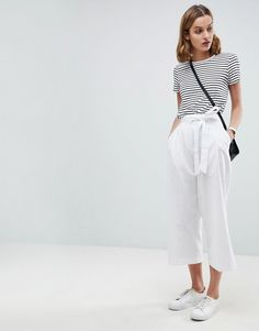 ASOS | ASOS DESIGN tailored linen culotte with tie waist and turn up