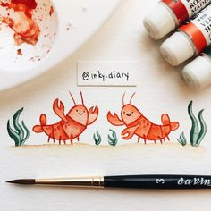 Day 80: Lobster friends going in for a (pinchy) hug - - #illustration #art #instaart #instaartist #sketchbook #drawing #drawingoftheday #paint #painting #ink #watercolor #cute #lobster #redlobster #lobsterlove #seafood #sealife #marinelife #ocean #instaanimal #animalfriends #alwayssmiling #bff #aquarelle #love #the100dayproject #100daysoffriendship #day80 #holbein