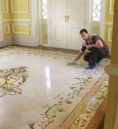 Browse our collection of waterjet marble floor designs. Foyer Flooring, Granite Flooring, Best Flooring, Stone Flooring, Floor Design, Ceiling Design, Tile Design, House Design, Luxury Homes Interior