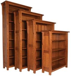 Amish Boston Bookcase Solid wood bookcase available in 6 heights. Adjustable shelves. Made in Amish country in choice of wood and stain.