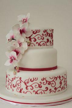 v Hochzeitstorte pink weiß mit Orchideen Swirls by suess-und-salzig, via Flickr