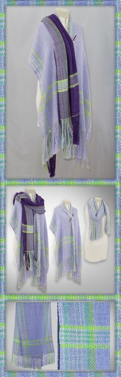 http://etsy.me/1X4OeRB Light summer weight shawl puts together pastel shades of lavender accented with lime green stripes and sea green highlights. The cotton – silk blend with light colors and a loose weave allows the shawl to reflect the heat and breath, cooling and helping to protecting from the effects of direct sun and wind while still being enough to ward off the chill of a nights cool breeze. Great for a day wrap at the beach, with jeans or dressed for an casual evening out…