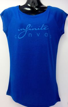 Women's blue bamboo logo shirt