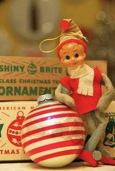 Vintage Christmas elf and Shiny Brites