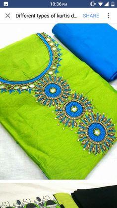 Salwar Suit Neck Designs, Silk Kurti Designs, Churidar Designs, Sari Blouse Designs, Fancy Blouse Designs, Embroidery On Kurtis, Hand Embroidery Dress, Kurti Embroidery Design, Hand Embroidery Designs