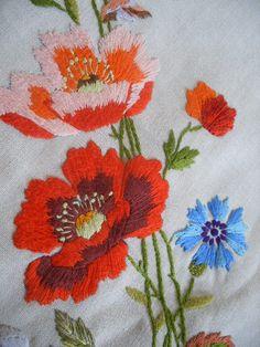 poppies on linen