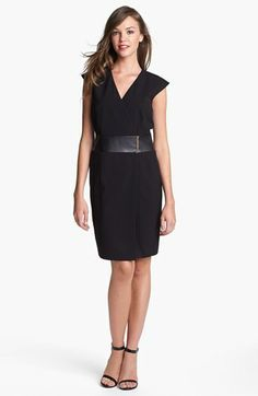 Calvin Klein Faux Leather Waist Wrap Dress available at #Nordstrom