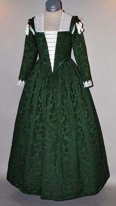 Green Damask Venetian Renaissance Gown, created by Starlight Masquerade