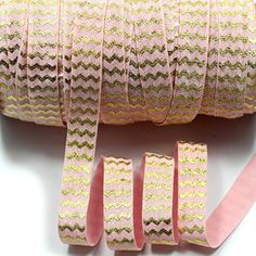 mdribbons 5/8 Inch 50 Yards Gold Foil Chevron Printed FOE…
