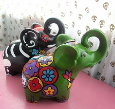 Day of the Dead Elephant Bank Hand Painted by DebbieIsAdopted