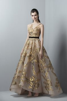 8cb4bb993c0 Saiid Kobeisy - 3359 Gold Appliqued Sheer Gown Most Beautiful Dresses