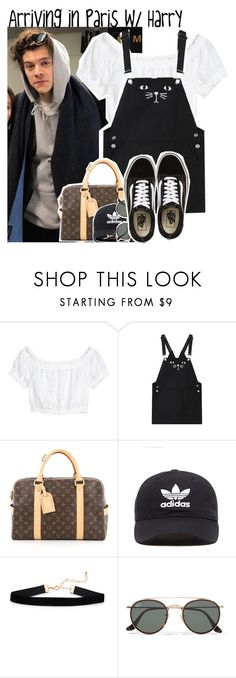 """""""Arriving in Paris w/ Harry"""" by mikkielaine ❤ liked on Polyvore featuring WithChic, Louis Vuitton, adidas Originals, Ray-Ban and Vans"""
