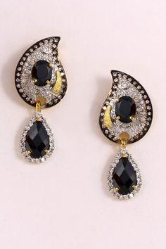 Black Earrings, American Diamond Earrings, Bridal Earring by #utsavfashion | $133.75