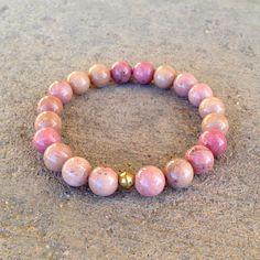 Self love, Pink Rhodochrosite mala bracelet. #valentinesdaygift #pink #bracelet