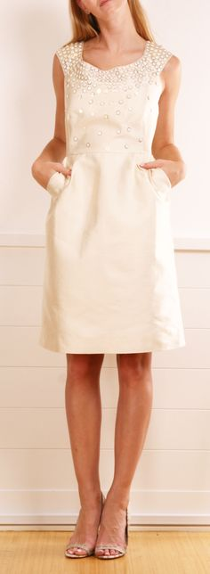 Kate Spade cream embellished cap-sleeve dress