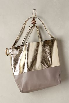 Foiled Taupe Tote #anthropologie (far too expensive but would love a 2-toned bag these colors) - taupe Italian leather and gold foil