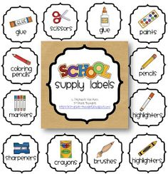 3rd Grade Thoughts: Getting Organized: Classroom Supply Labels