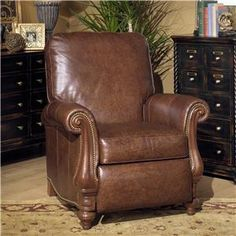 Bradington Young Sheffield Sheffield Three-Way Lounger with Brass Nails - Howell Furniture - Three Way Recliner Beaumont, Port Arthur, Lake Charles, Texas, Louisiana