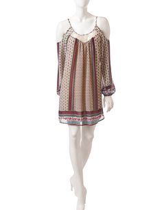 Shop today for My Michelle Multicolor Printed Boho Cold Shoulder Shift Dress