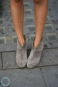 Taupe suede ankle boots.