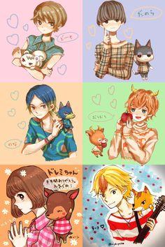 Animal Crossing: New Leaf characters drawn as humans (gijinka).
