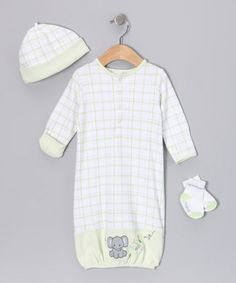 Take a look at this Green 'Lil' Peanut' Layette Set by Vitamins Baby on #zulily today!