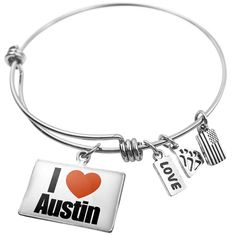 """Expandable Wire Bangle Bracelet I Love Austin region: Texas, United States, Neo. Handmade bangle bracelet crafted from recycled material with 3 NEONBLOND charms. Size is approximately 2.6"""" and the charm is 0.9"""" x 0.6"""". We have more then 15,000 different NEONBLOND Adjustable Wire Bangle Bracelet. Money-back Satisfaction Guarantee. Wire Bangles Made by NEONBLOND."""