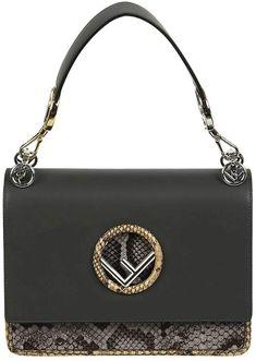 c4eea967848d Fendi Kan I F Leather Shoulder Bag With Raffia Embroidery and ...