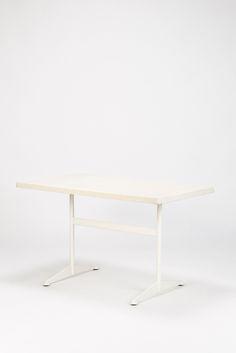 White Stella Garden Table Fiberglass 60's