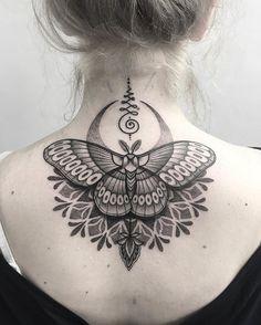 Georgies first tattoo. Thanks me dear! #tattoo #uktta #blackworkerssubmission #blacktattooart #blackwork #blxckink #tattoodo #tattrx #dotwork #silverbackink #taot #txttooing #london #parliamenttattoo #bintt #moth #mandala #moon