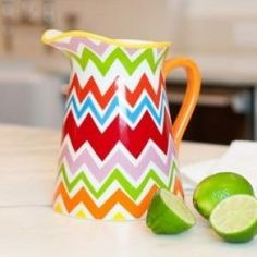 A colorful and functional accessory for counter or table, the Bargello Mix Pitcher is beautiful for entertaining, yet durable enough for everyday use.