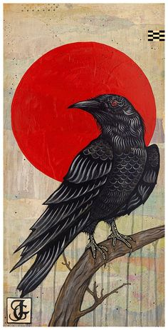 Crow Art, Bird Art, Kunst Inspo, Art Inspo, Fantasy Kunst, Fantasy Art, Crows Drawing, Raven Bird, Japon Illustration