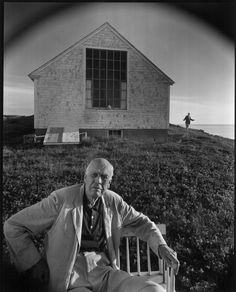 American painter Edward Hopper in Truro, Mass., with his wife, Jo, in the background, 1960 - Arnold Newman