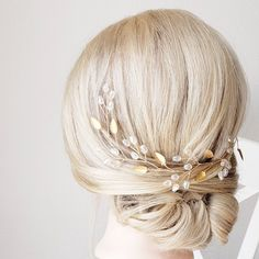Gold Hair Piece, Wedding Hair Vine, Bridal Comb, Bridal Headband, Wedding Headpiece, Bridal Hair Accessory Bridal Comb, Bridal Hair Vine, Wedding Hair Clips, Wedding Hair Pieces, Short Bob Hairstyles, Wedding Hairstyles, Hair Wreaths, Rose Gold Hair, Bandeau