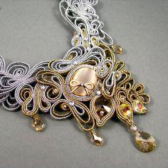 Statement bridal necklace wedding jewelry by byPiLLowDesign