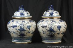 Photo of Pair Blue and White Porcelain Lidded Urns Kangxi Chinese Pottery