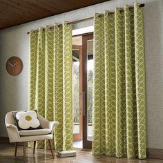 Buy Orla Kiely Linear Stem Eyelet Curtains - Olive - 229x274cm | Amara