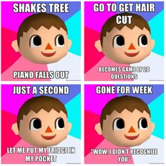 Animal Crossing. Seriously, getting a hair cut is actually annoying because, I just want my hair, MY WAY. I don't want freaking Harriet to decide. Just give me a list of haircut options with pictures. PLEASE.
