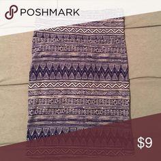 Aztec print bodycon skirt Dark blue/purple Aztec print body con skirt. Never worn Charlotte Russe Skirts