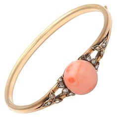 1STDIBS.COM Jewelry & Watches - Unknown - Rose Gold Coral rose Diamond Bangle - The Emporium, Ltd
