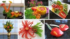 Vegetable carving DVD teaches the carving techniques required for turning peppers into beautifully carved flowers, decorative bowls and edible arrangements. Fruit Carving Knife, Fruit And Vegetable Carving, Vegetable Bowl, Edible Bouquets, Mango, Beautiful Fruits, Flower Spray, Edible Arrangements, Fruit Art