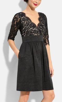 Love this elegant lace and faille dress http://rstyle.me/n/mep59nyg6