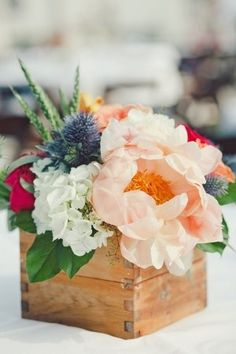 Full blooming peach peonies. wedding-diy  (LOVE this mix of colors)