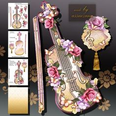 Vintage Soft Yellow Violin on Craftsuprint designed by Atlic Snezana - Vintage Soft Yellow Violin: 4 sheets for print with decoupage for 3D effect plus 2 sentiment tags (for your own personal text) - Now available for download!