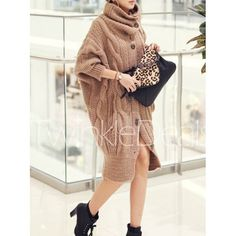 $29.13 Batwing Sleeves Cowl Neck Long Edition Thickened Cable Knit Pattern Stylish Women's Cardigan