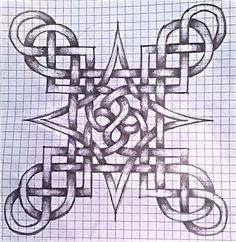 My first successful attempt at a Celtic Knot. Celtic Knot First Celtic Symbols, Celtic Art, Celtic Dragon, Celtic Mandala, Graph Paper Drawings, Graph Paper Art, Celtic Drawings, Celtic Knots Drawing, Motifs Blackwork