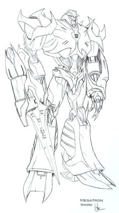 Calling on the wisdom of the internet: I've tried to decipher the writing on Megatron's sword but I cant seem to figure it out; anyone have a better image or know what it says? Signal boost this,. Transformers Drawing, Transformers Coloring Pages, Transformers Megatron, Transformers Characters, Robot Animal, Transformer Party, Superhero Coloring, Marvel Wallpaper, Hd Wallpaper